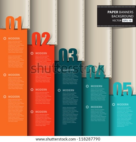 Vector paper numbered and leather banners.Design template