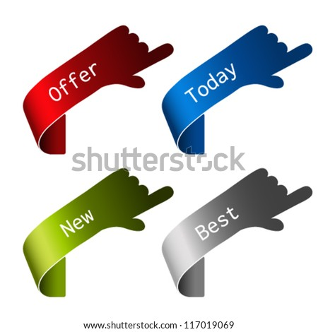 Vector paper offer elements - hand gesture