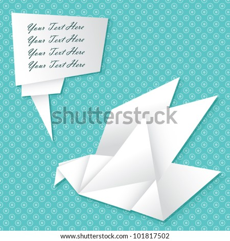 Vector paper origami bird with empty speech bubble for your text