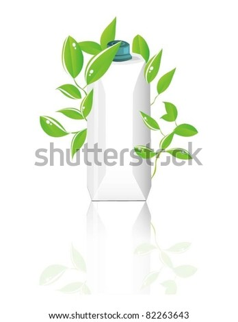 vector paper package with green leaves