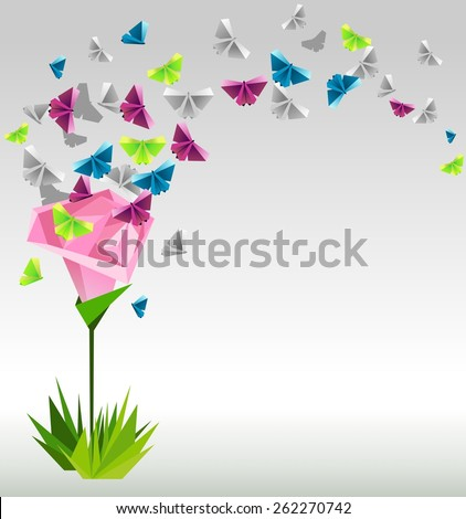 vector paper pink rose and