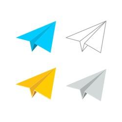 Vector Paper Plane Icon Symbol Set