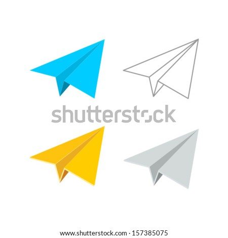 Vector Paper Plane Icon Symbol Set