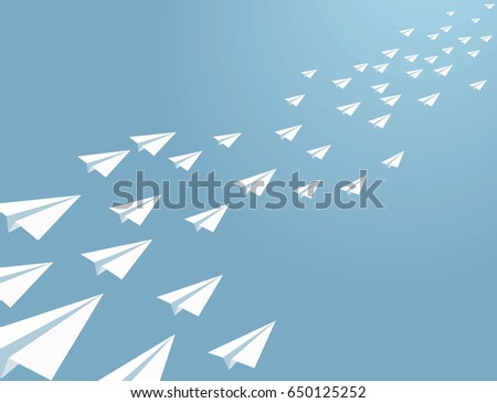 vector paper planes flying on