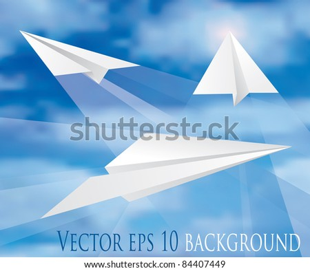 vector paper planes on cloudy sky - stock vector