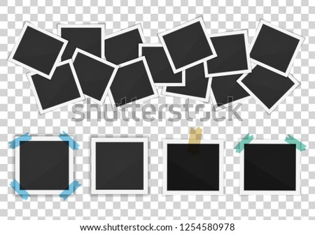 Vector paper Polaroid frames pack isolated on transparent background