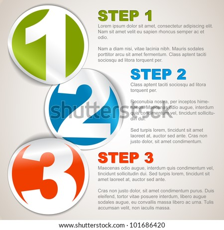 Vector Paper Progress background / product choice or versions with numbers and description