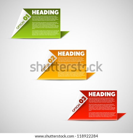 Vector Paper Progress cards / product choice or versions - stock vector