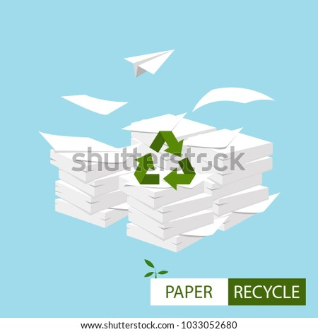 Vector. Paper recycling concept. Big stacks of papers with recycle sign.