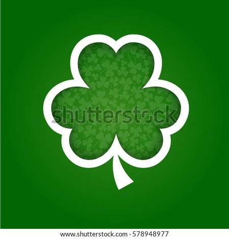 vector paper shamrock on green background