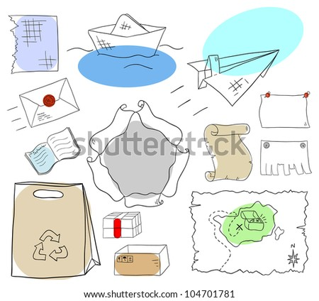 Vector paper sheets and objects collection on a white background