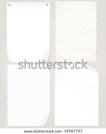 Vector Paper Sheets set - graph paper, old torn paper, notepad page, blank paper - MORE PAPER OBJECTS SEE AT MY GALLERY