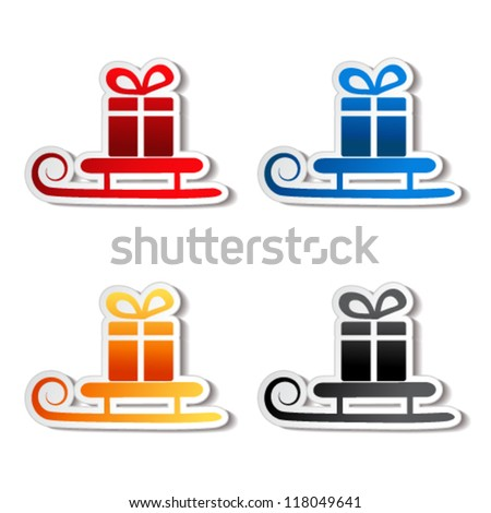 Vector paper sledge with gift, sticker