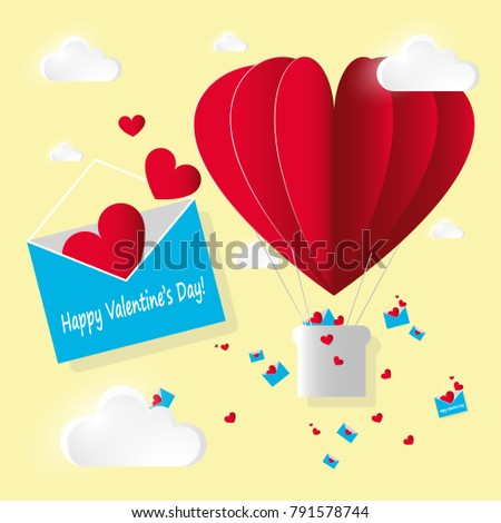 Vector paper style card Valentine's day. Bright open blue envelope with flying red hearts and letters and air hot balloon on yellow background.  #791578744