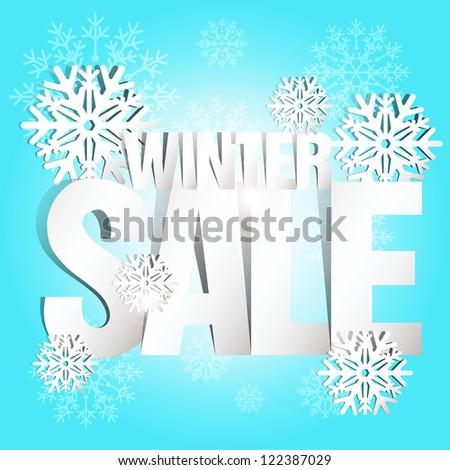 Vector paper winter sale / Winter Sale Paper Folding Design