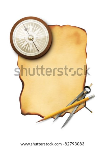 vector paper with compass, pencil and a divider - stock vector