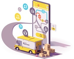 Vector parcel and mail delivery service and tracking app illustration, Smartphone with yellow delivery truck, map of the parcel route on the screen
