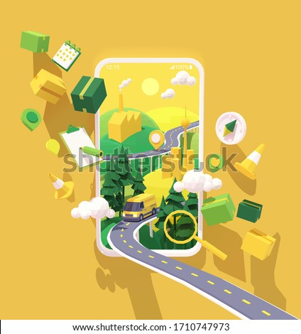 Vector parcel and mail delivery service and tracking app illustration, Smartphone with yellow delivery truck or van on the highway, road from factory to customer home. Supply chain