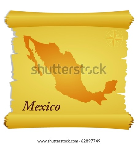 vector parchment with a silhouette of Mexico - stock vector
