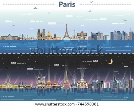 vector paris city skyline at