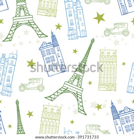 vector paris streets blue green