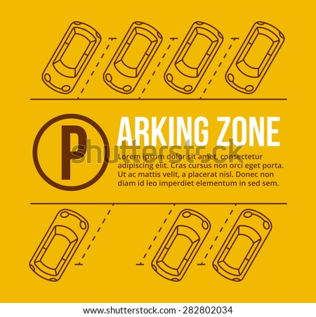 Shutterstock Vector parking lot illustration. Car and transportation, auto park, empty row