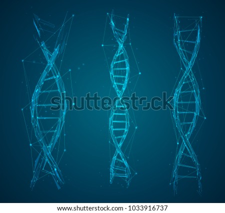vector. part of the human dna. 3d triangular abstract style. in blue color