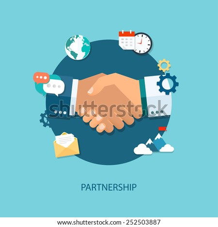 Vector partnership illustration. Flat style. Background for business and finance