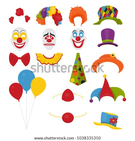 Vector Party Birthday or 1th april - Fool s Day - photo booth props. Hats, wigs, neckties, clown noses, masks, balloons and cylinder icon set isolated on white background. Clipart, design templates