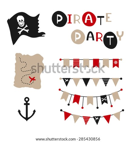 vector party flags pirate