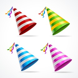 Vector party hat set isolated on a white background.