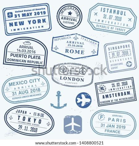 Vector passport stamp set - novelty passport stamps collection.