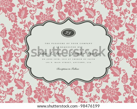 Vector Pastel Floral Frame. Easy to edit. Perfect for invitations or announcements.