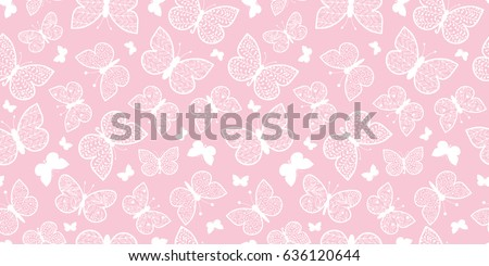 Vector Pastel Pink Butterflies Repeat Seamless Pattern Background. Can Be Used For Fabric, Wallpaper, Stationery, Packaging.