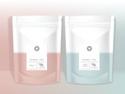 Vector Pastel Resealable Product Sachet Pouch in Pastel Pink & Blue Color minimal design mockup for Snack Cosmetics Healthcare Bath Salts Gift Food Accessory