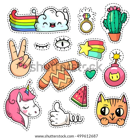 Vector patch badges with animals, characters and things. Hand-drawn stickers, pins, emoji in cartoon 80s-90s comics style. Set with unicorn, cloud, cat, cactus, watermelon, etc. Peace hand. Part 2 #499612687