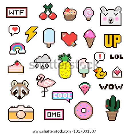 Vector patch set - pixel 80s-90s style design. Isolated illustrations - great for stickers, embroidery, badges. Set of colorful cartoon badges.