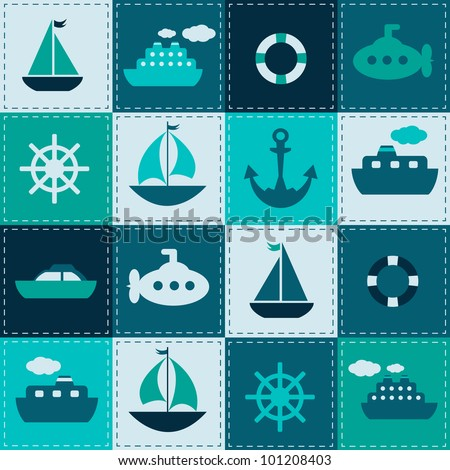 vector patchwork background with sea transport