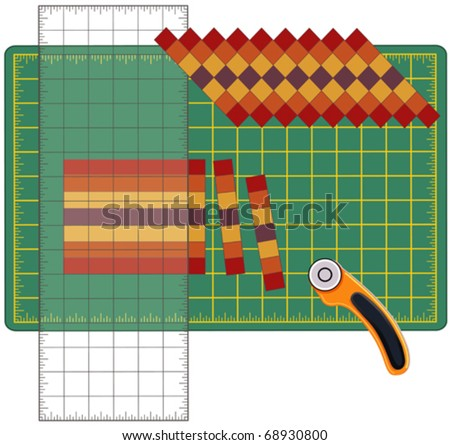 vector - Patchwork How To. Sew strips of cloth together, cut, reorganize into patterns with quilters see- through ruler, using rotary blade cutter on a cutting mat. For sewing, quilting, DIY. EPS8.