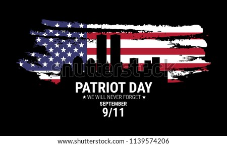Vector patriot day illustration. We will newer forget 9\11/ Vector patriotic illustration with american flag
