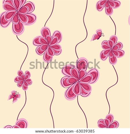 vector pattern background with abstract pink flower