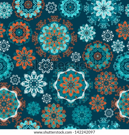 Vector pattern - blue lacy flowers