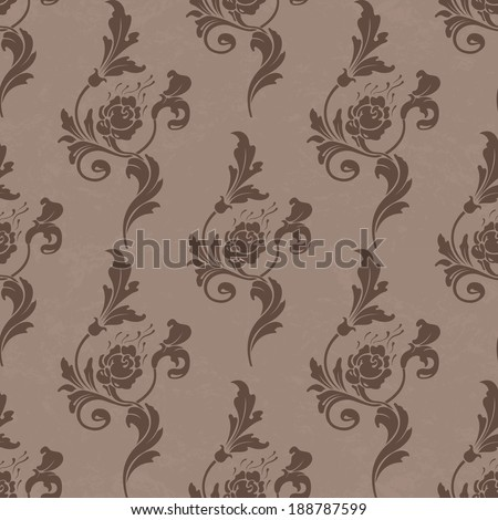 Vector  pattern,endless floral ornaments in vintage style. Original author's design, hand-drawn. #188787599
