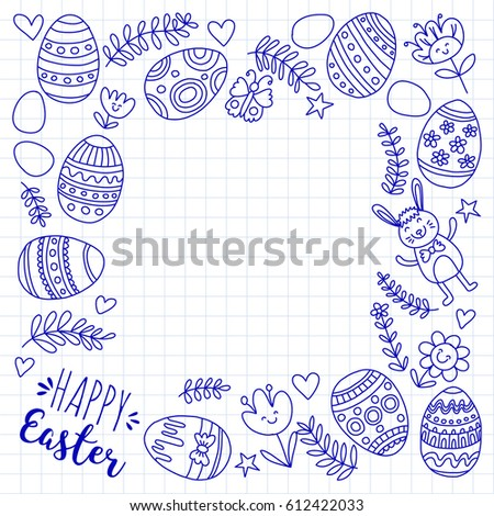 Vector pattern for Easter Eggs, flowers, bunny Happy easter pattern #612422033