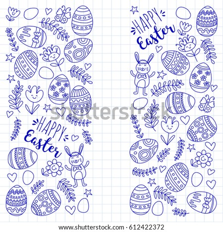 Vector pattern for Easter Eggs, flowers, bunny Happy easter pattern #612422372