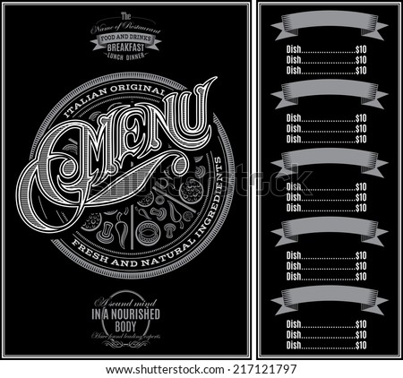 vector pattern for menu pizza over black background and calligraphy