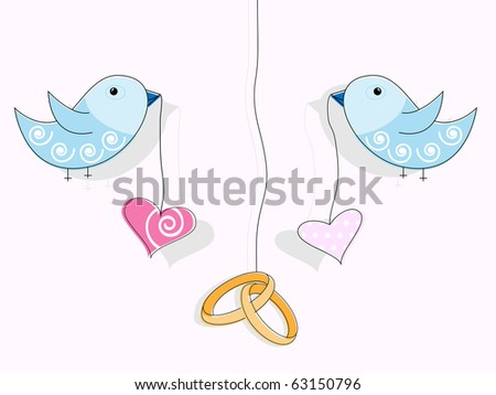 Wedding rings hearts and blue birds
