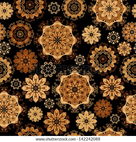 Vector pattern - gold lacy flowers