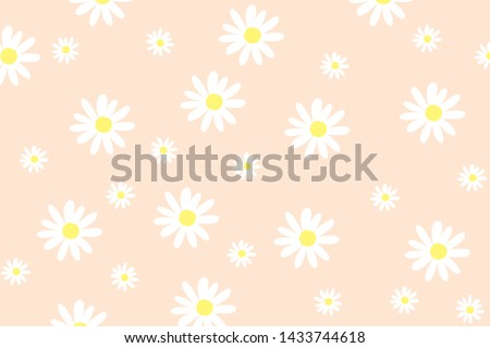 Vector pattern illusration white daisy flowers on a pink background. EPS10. Stockfoto ©