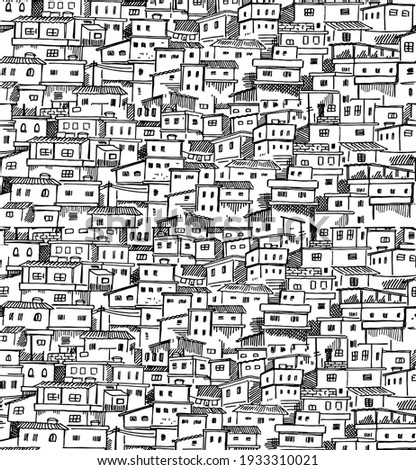 Vector pattern illustration, with stripped strokes, of artistic representation of favela. Photo stock ©